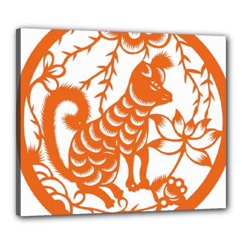 Chinese Zodiac Dog Canvas 24  X 20  by Onesevenart