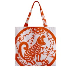 Chinese Zodiac Dog Zipper Grocery Tote Bag by Onesevenart
