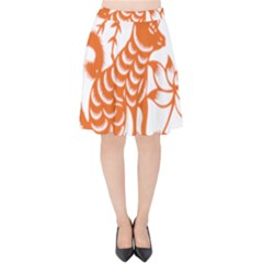 Chinese Zodiac Dog Velvet High Waist Skirt by Onesevenart