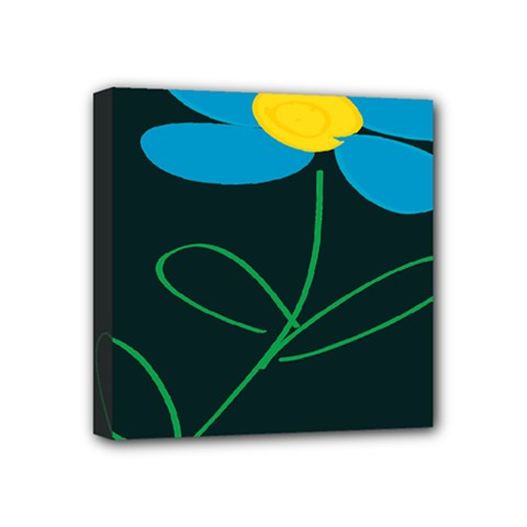 Whimsical Blue Flower Green Sexy Mini Canvas 4  X 4  by Mariart
