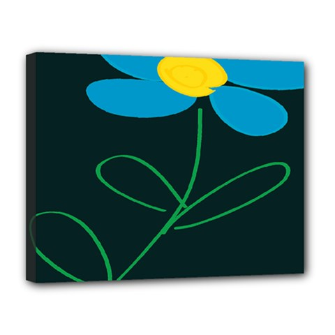 Whimsical Blue Flower Green Sexy Canvas 14  X 11  by Mariart