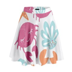 Animals Sea Flower Tropical Crab High Waist Skirt by Mariart