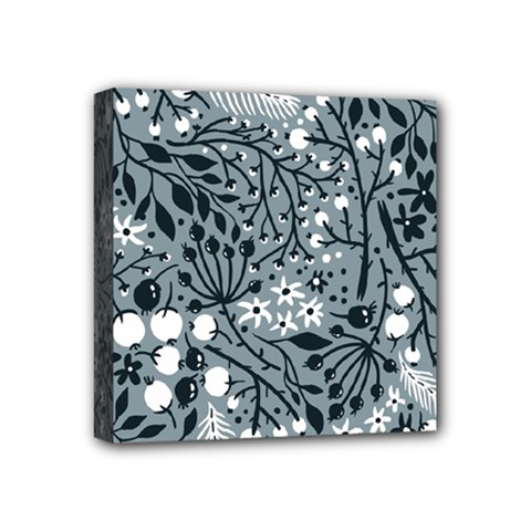 Abstract Floral Pattern Grey Mini Canvas 4  X 4  by Mariart