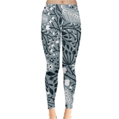 Abstract Floral Pattern Grey Leggings  by Mariart