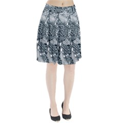 Abstract Floral Pattern Grey Pleated Skirt by Mariart
