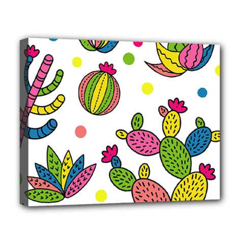 Cactus Seamless Pattern Background Polka Wave Rainbow Deluxe Canvas 20  X 16   by Mariart
