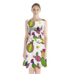 Cactus Seamless Pattern Background Polka Wave Rainbow Sleeveless Waist Tie Chiffon Dress by Mariart