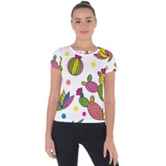 Cactus Seamless Pattern Background Polka Wave Rainbow Short Sleeve Sports Top