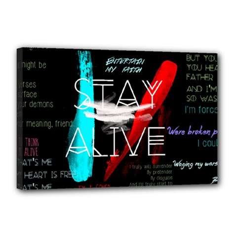 Twenty One Pilots Stay Alive Song Lyrics Quotes Canvas 18  X 12  by Onesevenart