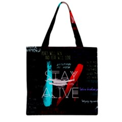 Twenty One Pilots Stay Alive Song Lyrics Quotes Zipper Grocery Tote Bag by Onesevenart