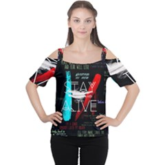 Twenty One Pilots Stay Alive Song Lyrics Quotes Cutout Shoulder Tee by Onesevenart
