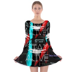 Twenty One Pilots Stay Alive Song Lyrics Quotes Long Sleeve Skater Dress by Onesevenart