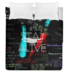 Twenty One Pilots Stay Alive Song Lyrics Quotes Duvet Cover Double Side (queen Size) by Onesevenart