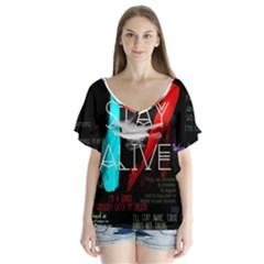 Twenty One Pilots Stay Alive Song Lyrics Quotes V Neck Flutter Sleeve Top by Onesevenart