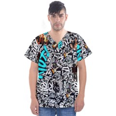 Panic! At The Disco College Men s V Neck Scrub Top by Onesevenart