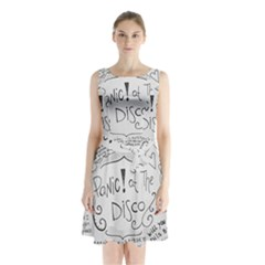 Panic! At The Disco Lyrics Sleeveless Waist Tie Chiffon Dress by Onesevenart