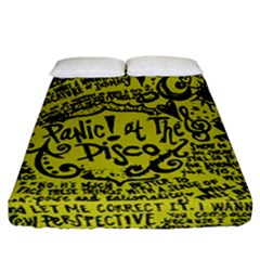 Panic! At The Disco Lyric Quotes Fitted Sheet (california King Size) by Onesevenart