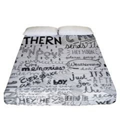 Panic At The Disco Lyrics Fitted Sheet (queen Size) by Onesevenart
