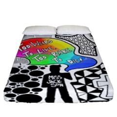 Panic ! At The Disco Fitted Sheet (queen Size) by Onesevenart