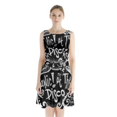 Panic ! At The Disco Lyric Quotes Sleeveless Waist Tie Chiffon Dress by Onesevenart