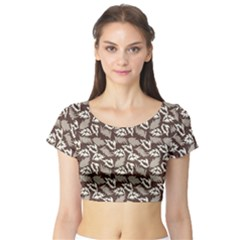 Dried Leaves Grey White Camuflage Summer Short Sleeve Crop Top (tight Fit) by Mariart
