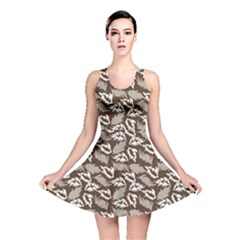 Dried Leaves Grey White Camuflage Summer Reversible Skater Dress by Mariart