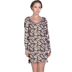 Dried Leaves Grey White Camuflage Summer Long Sleeve Nightdress by Mariart
