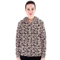 Dried Leaves Grey White Camuflage Summer Women s Zipper Hoodie by Mariart