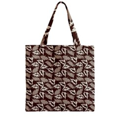 Dried Leaves Grey White Camuflage Summer Zipper Grocery Tote Bag by Mariart
