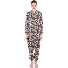 Dried Leaves Grey White Camuflage Summer Hooded Jumpsuit (ladies)  by Mariart