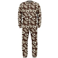 Dried Leaves Grey White Camuflage Summer Onepiece Jumpsuit (men)  by Mariart