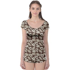 Dried Leaves Grey White Camuflage Summer Boyleg Leotard  by Mariart