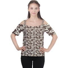 Dried Leaves Grey White Camuflage Summer Cutout Shoulder Tee by Mariart