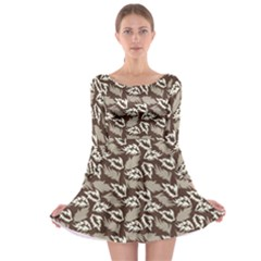 Dried Leaves Grey White Camuflage Summer Long Sleeve Skater Dress by Mariart