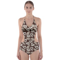Dried Leaves Grey White Camuflage Summer Cut Out One Piece Swimsuit by Mariart