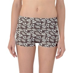 Dried Leaves Grey White Camuflage Summer Reversible Boyleg Bikini Bottoms by Mariart