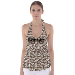 Dried Leaves Grey White Camuflage Summer Babydoll Tankini Top by Mariart