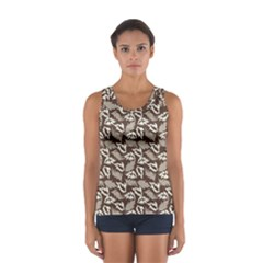 Dried Leaves Grey White Camuflage Summer Sport Tank Top  by Mariart