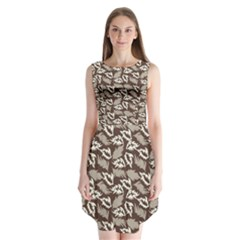 Dried Leaves Grey White Camuflage Summer Sleeveless Chiffon Dress   by Mariart