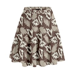Dried Leaves Grey White Camuflage Summer High Waist Skirt by Mariart