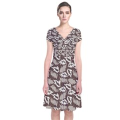 Dried Leaves Grey White Camuflage Summer Short Sleeve Front Wrap Dress by Mariart