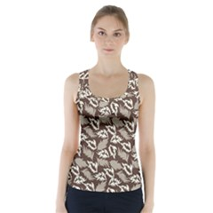 Dried Leaves Grey White Camuflage Summer Racer Back Sports Top by Mariart