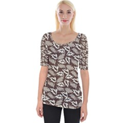 Dried Leaves Grey White Camuflage Summer Wide Neckline Tee by Mariart
