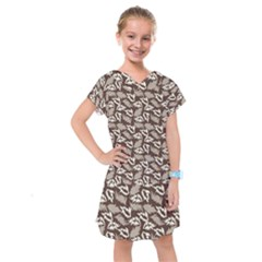 Dried Leaves Grey White Camuflage Summer Kids  Drop Waist Dress by Mariart