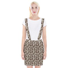 Dried Leaves Grey White Camuflage Summer Braces Suspender Skirt by Mariart