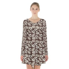 Dried Leaves Grey White Camuflage Summer Long Sleeve Velvet V Neck Dress by Mariart
