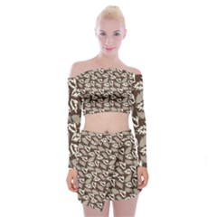 Dried Leaves Grey White Camuflage Summer Off Shoulder Top With Skirt Set by Mariart