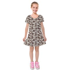 Dried Leaves Grey White Camuflage Summer Kids  Short Sleeve Velvet Dress by Mariart