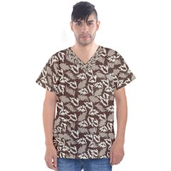 Dried Leaves Grey White Camuflage Summer Men s V Neck Scrub Top by Mariart
