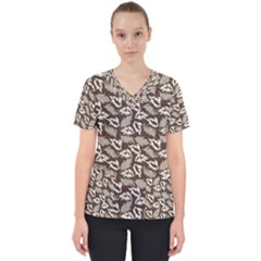 Dried Leaves Grey White Camuflage Summer Scrub Top by Mariart